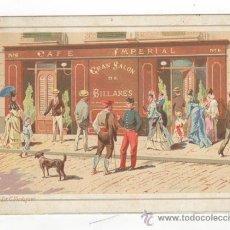 Postales: POSTAL LITOGRAFICA PUBLICITARIA. CAFE IMPERIAL Y GRAN SALON DE BILLARES DE JOSE GARCÍA É HIJO. BCN.. Lote 36542217