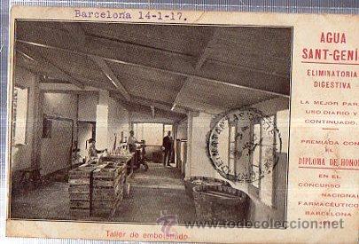 TARJETA POSTAL BARCELONA, PUBLICITARIA, AGUAS SANT GENIS, TALLER DE EMBOTELLADO (Postales - Postales Temáticas - Publicitarias)