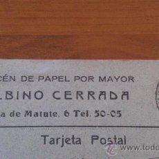 Postales: ANTIGUA TARJETA POSTAL PUBLICIDAD ALMACEN DE PAPEL BALBINO CERRADA PLAZA DE MATUTE MADRID 1920. Lote 36624159