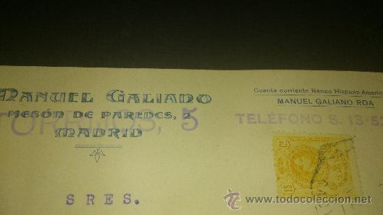 ANTIGUA TARJETA POSTAL PUBLICIDAD MANUEL GALIANO MESON DE PAREDES MADRID 1920 (Postales - Postales Temáticas - Publicitarias)