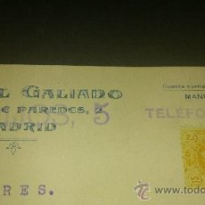 Postales: ANTIGUA TARJETA POSTAL PUBLICIDAD MANUEL GALIANO MESON DE PAREDES MADRID 1920. Lote 36872225
