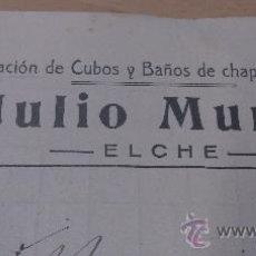 Postales: ANTIGUA TARJETA POSTAL PUBLICIDAD CUBOS Y BAÑOS DE CHAPA GALVANIZADA JULIO MUNTO ELCHE ALICANTE 1919. Lote 36886897
