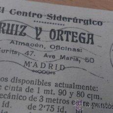 Postales: ANTIGUA TARJETA POSTAL PUBLICIDAD CENTRO SIDERURGICO RUIZ Y ORTEGA MADRID 1920. Lote 36887256