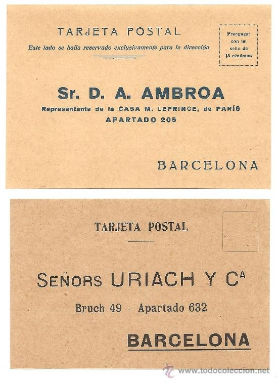 BARCELONA - LOTE 2 TARJETAS POSTALES PUBLICITARIAS MÉDICAS - AÑOS 20 SIN CIRCULAR (Postales - Postales Temáticas - Publicitarias)