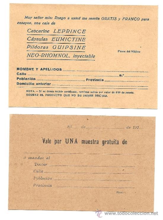 Postales: BARCELONA - LOTE 2 TARJETAS POSTALES PUBLICITARIAS MÉDICAS - AÑOS 20 SIN CIRCULAR - Foto 2 - 37112949