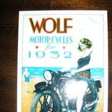 Postales: POSTAL PUBLICITARIA WOLF MOTORCYCLES FOR 1932 - ARGENTINA - SERIE DE COLECCION - NUEVA!. Lote 37859756