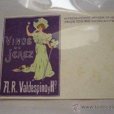 Postales: TARJETA POSTAL S/C VINOS DE JEREZ. A.R. VALDESPINO Y Hº. EXCELENTE CONSERVACIÓN. FINALES SIGLO XIX. Lote 37860912