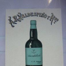 Postales: TARJETA PUBLICITARIA EN CARTÓN, DE A.R. VALDESPINO.. Lote 65437387