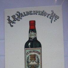 Postales: TARJETA PUBLICITARIA EN CARTÓN, DE A.R. VALDESPINO.. Lote 38565772