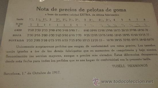 ANTIGUA TARJETA POSTAL CATALOGO PRECIOS PELOTAS DE GOMA HERMANOS TUSELL BARCELONA 1917 (Postales - Postales Temáticas - Publicitarias)