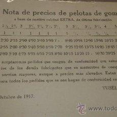 Postales: ANTIGUA TARJETA POSTAL CATALOGO PRECIOS PELOTAS DE GOMA HERMANOS TUSELL BARCELONA 1917. Lote 38598662
