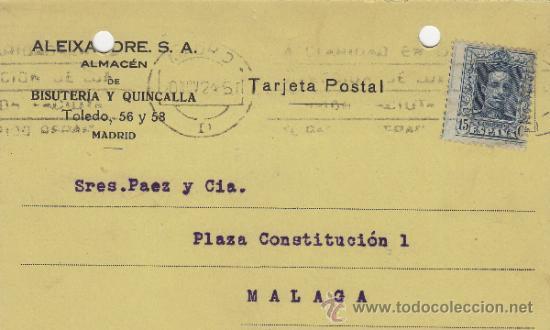 TARJETA POSTAL COMERCIAL PUBLICIDAD VICENTE ALEIXANDRE MADRID - MALAGA 1920 BISUTERIA Nº 315 (Postales - Postales Temáticas - Publicitarias)