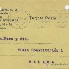 Postales: TARJETA POSTAL COMERCIAL PUBLICIDAD VICENTE ALEIXANDRE MADRID - MALAGA 1920 BISUTERIA Nº 315 . Lote 38658582