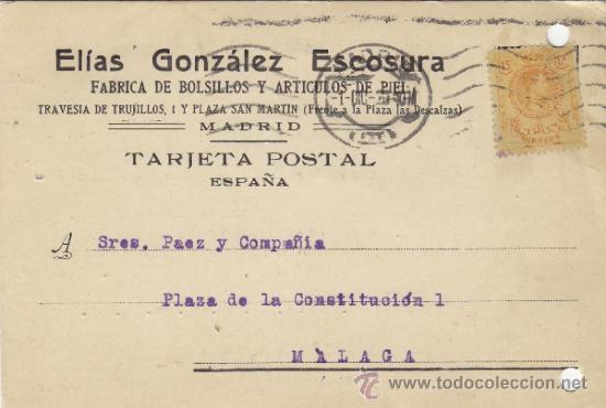 TARJETA POSTAL COMERCIAL PUBLICIDAD ELIAS GONZALEZ ESCOSURA / BOLSILLOS MADRID - MALAGA 1920 271 (Postales - Postales Temáticas - Publicitarias)