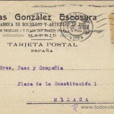 Postales: TARJETA POSTAL COMERCIAL PUBLICIDAD ELIAS GONZALEZ ESCOSURA / BOLSILLOS MADRID - MALAGA 1920 271. Lote 38658595