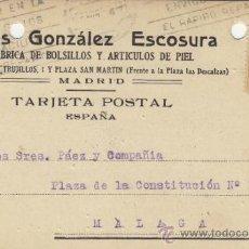 Postales: TARJETA POSTAL COMERCIAL PUBLICIDAD ELIAS GONZALEZ ESCOSURA . BOLSILLOS . MADRID - MALAGA 1924 271. Lote 38658598