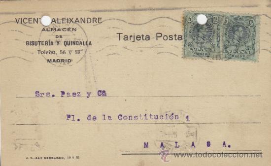 TARJETA POSTAL COMERCIAL PUBLICIDAD VICENTE ALEIXANDRE . BISUTERIA MADRID - MALAGA 1920 Nº 268 (Postales - Postales Temáticas - Publicitarias)