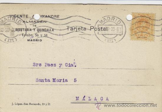 TARJETA POSTAL COMERCIAL PUBLICIDAD VICENTE ALEIXANDRE . BISUTERIA . MADRID - MALAGA 1920 Nº 271 (Postales - Postales Temáticas - Publicitarias)