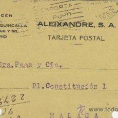 Postales: TARJETA POSTAL COMERCIAL PUBLICIDAD ALEIXANDRE . BISUTERIA . MADRID - MALAGA 1928 Nº 315. Lote 38665481