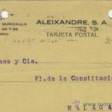 Postales: TARJETA POSTAL COMERCIAL PUBLICIDAD ALEIXANDRE . BISUTERIA . MADRID - MALAGA 1927 Nº 315. Lote 38665567