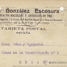 Postales: TARJETA POSTAL COMERCIAL PUBLICIDAD ELIAS GONZALEZ ESCOSURA . BOLSILLOS MADRID - MALAGA 1924 Nº 315. Lote 38665642
