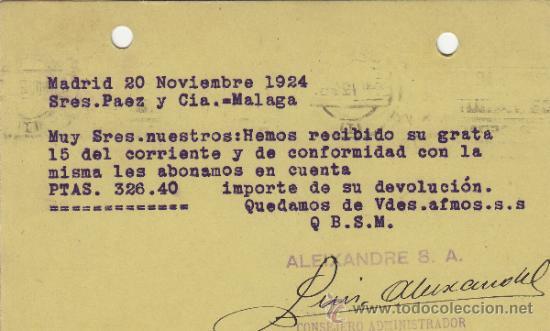 Postales: TARJETA POSTAL COMERCIAL PUBLICIDAD VICENTE ALEIXANDRE MADRID - MALAGA 1920 BISUTERIA Nº 315 - Foto 2 - 38658582