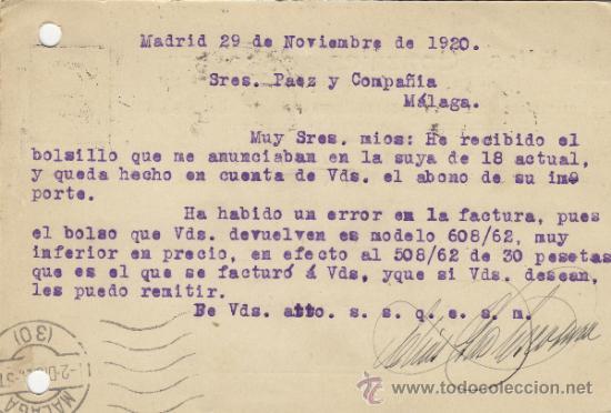 Postales: TARJETA POSTAL COMERCIAL PUBLICIDAD ELIAS GONZALEZ ESCOSURA / BOLSILLOS MADRID - MALAGA 1920 271 - Foto 2 - 38658595