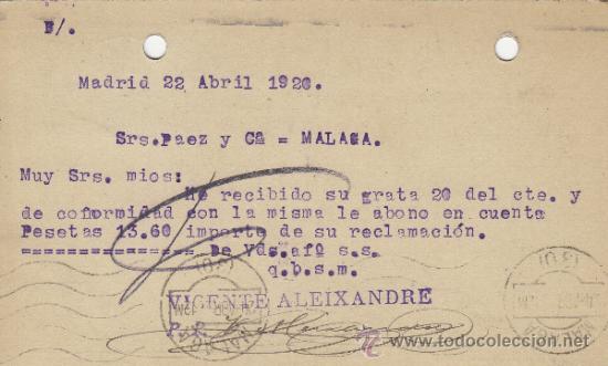 Postales: TARJETA POSTAL COMERCIAL PUBLICIDAD VICENTE ALEIXANDRE . BISUTERIA MADRID - MALAGA 1920 nº 268 - Foto 2 - 38658666