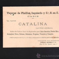 Postales: TARJETA POSTAL PUBLICITARIA DE VAPORES PINILLOS IZQUIERDO. CADIZ. SALIDA DE VAPOR. 1901. Lote 38720140