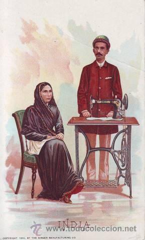 INDIA. PUBLICIDAD MÁQUINAS DE COSER SINGER (Postales - Postales Temáticas - Publicitarias)