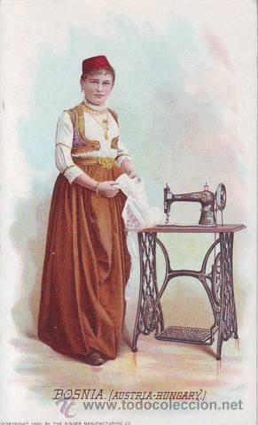 BOSNIA (AUSTRIA-HUNGARY). PUBLICIDAD MÁQUINAS DE COSER SINGER (Postales - Postales Temáticas - Publicitarias)