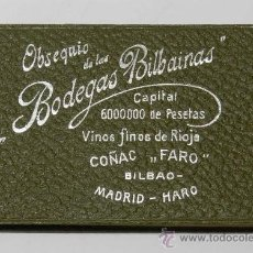 Postales: OBSEQUIO DE LAS BODEGAS BILBAINAS VINOS FINOS DE RIOJA, COÑAC FARO, BILBAO - HARO, LIBRETA CON HOJAS. Lote 38869166