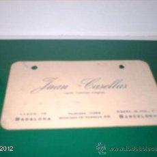 Postales: TARJETA PUBLICITARIA AÑOS 40 DE JUAN CASELLAS, AGENTE COMERCIAL DE BARCELONA. Lote 39061495