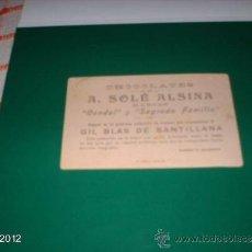 Postales: CROMO PUBLICITARIO AÑOS 20. CHOCOLATES A. SOLÉ ALSINA DE CATALUÑA. Lote 39061611