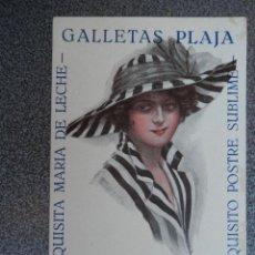 Postales: PUBLICIDAD DE GALLETAS PLAJA GERONA Y VALENCIA POSTAL ANTIGUA. Lote 40295049
