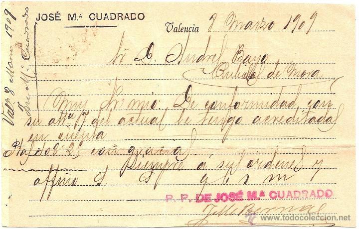 Postales: POSTAL CIRCULADA DE JOSE Mª CUADRADO - VALENCIA - AÑO 1909 - UNION POSTAL UNIVERSAL ESPAÑA - Foto 2 - 40649447