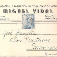 Postales: TARJETA POSTAL COMERCIAL TORELLO DE MIGUEL VIDAL AÑO 1951. Lote 40844276