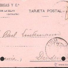 Postales: TARJETA POSTAL COMERCIAL CASSA DE LA SELVA DE SAJAS Y BIGAS Y CIA AÑO 1912. Lote 40848220