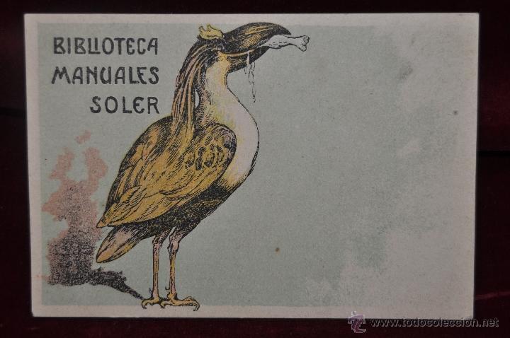 TARJETA POSTAL BIBLIOTECA MANUALES SOLER BARCELONA ORIGINAL EPOCA COLECCION (Postales - Postales Temáticas - Publicitarias)