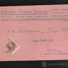 Postales: TARJETA POSTAL PUBLICITARIA. VINOS SALVADOR ZAPATA JIMENEZ. MALAGA. 1943. Lote 41498073