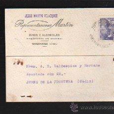 Postales: TARJETA POSTAL PUBLICITARIA. VINOS Y ALCOHOLES REPRESENTACIONES MARTIN. MANZANARES (C.REAL). 1945. Lote 41499324