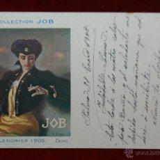 Postales: POSTAL PUBLICITARIA DE LA COLLECTION JOB. CALENDRIER 1906. CASAS. ESCRITA. Lote 42517022