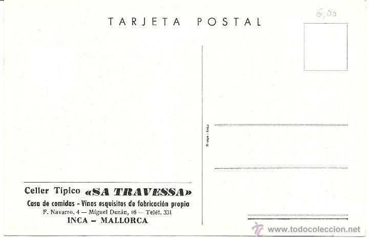 Postales: INCA (MALLORCA)- CELLER TIPICO SA TRAVESSA - SIN CIRCULAR - Foto 2 - 44279356