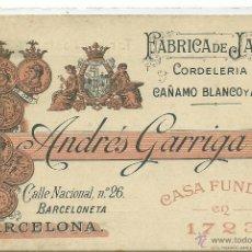 Postales: (PS-39696)POSTAL PUBLICITARIA CORDELERIA DE CAÑAMO BLANCO Y ABACA,ANDRES GARRIGA,BARCELONETA. Lote 42651729