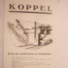 Postales: PRECIOSA POSTAL. DIFÍCIL ENCONTRAR. KOPPEL. EXCAVADORAS A ROSARIO. CIRCULADA AÑO 1927. Lote 42918883