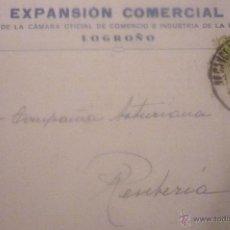 Postales: EXPANSIÓN COMERCIAL. BOLETÍN CÁMARA COMERCIO E INDUSTRIA. LOGROÑO.CIRCULADA AÑO 1927. Lote 42919076