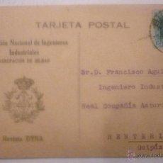Postales: ASOCIACIÓN NACIONAL DE INGENIEROS INDUSTRIALES. AGRUPACIÓN DE BILBAO. REVISTA DYNA. CIRCULADA 1928. Lote 42919145