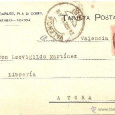 Postales: GERONA - TARJETA POSTAL DALMÁU CARLES, PLA & COMP. - CIRCULADA A AYORA (VALENCIA) AÑO 1918. Lote 43019758