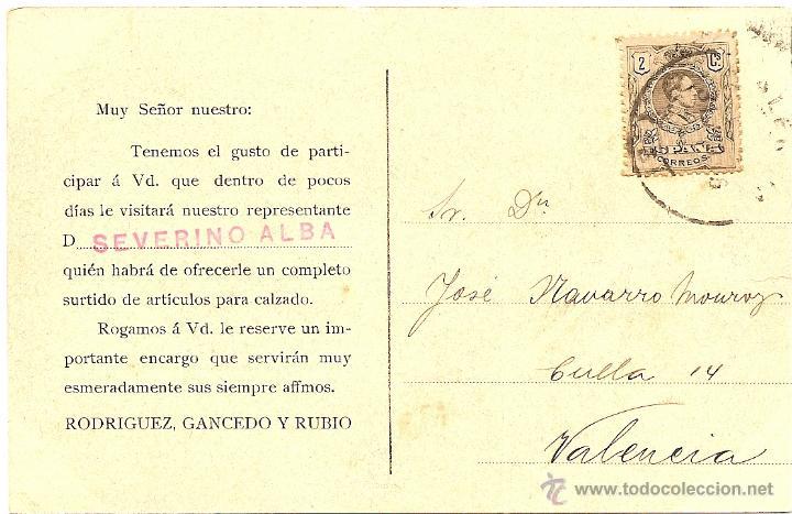 Postales: MADRID - ALMACEN DE CURTIDOS RODRÍGUEZ, GANCEDO Y RUBIO - TARJETA CIRCULADA AÑOS 10 - Foto 2 - 43021077