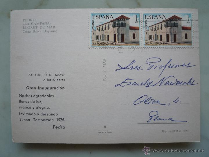 Postales: Postal Publicidad 1967 *PEDRO LA CAMPANA* Lloret de Mar Costa Brava Foto Mas Sellos 2213 Hispanidad - Foto 2 - 43674201